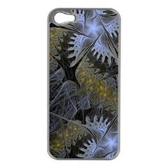 Fractal Wallpaper With Blue Flowers Apple iPhone 5 Case (Silver)
