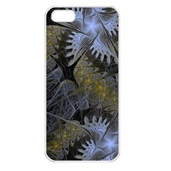 Fractal Wallpaper With Blue Flowers Apple iPhone 5 Seamless Case (White)