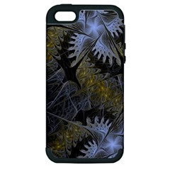 Fractal Wallpaper With Blue Flowers Apple Iphone 5 Hardshell Case (pc+silicone) by Amaryn4rt