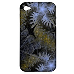 Fractal Wallpaper With Blue Flowers Apple iPhone 4/4S Hardshell Case (PC+Silicone)