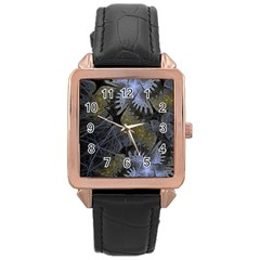Fractal Wallpaper With Blue Flowers Rose Gold Leather Watch