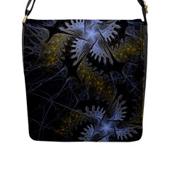 Fractal Wallpaper With Blue Flowers Flap Messenger Bag (l)  by Amaryn4rt