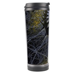 Fractal Wallpaper With Blue Flowers Travel Tumbler