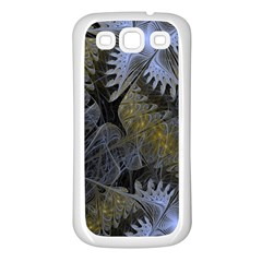Fractal Wallpaper With Blue Flowers Samsung Galaxy S3 Back Case (White)