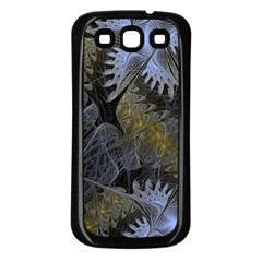 Fractal Wallpaper With Blue Flowers Samsung Galaxy S3 Back Case (Black)