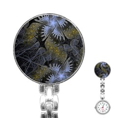 Fractal Wallpaper With Blue Flowers Stainless Steel Nurses Watch