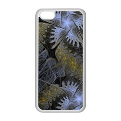 Fractal Wallpaper With Blue Flowers Apple iPhone 5C Seamless Case (White)