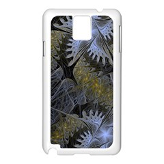 Fractal Wallpaper With Blue Flowers Samsung Galaxy Note 3 N9005 Case (White)