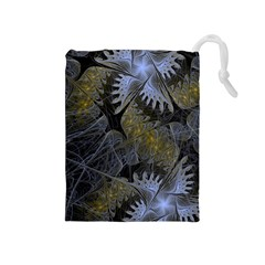 Fractal Wallpaper With Blue Flowers Drawstring Pouches (Medium)