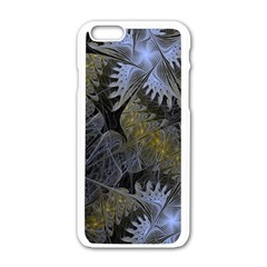 Fractal Wallpaper With Blue Flowers Apple iPhone 6/6S White Enamel Case