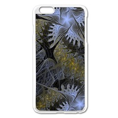 Fractal Wallpaper With Blue Flowers Apple Iphone 6 Plus/6s Plus Enamel White Case by Amaryn4rt