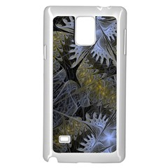 Fractal Wallpaper With Blue Flowers Samsung Galaxy Note 4 Case (White)