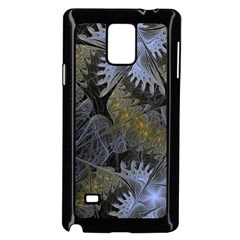 Fractal Wallpaper With Blue Flowers Samsung Galaxy Note 4 Case (black) by Amaryn4rt