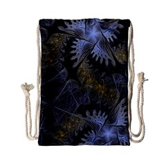 Fractal Wallpaper With Blue Flowers Drawstring Bag (Small)