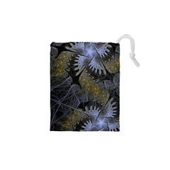 Fractal Wallpaper With Blue Flowers Drawstring Pouches (XS)