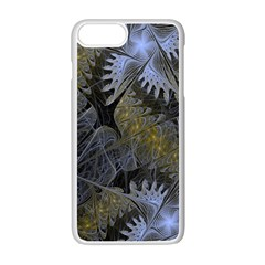 Fractal Wallpaper With Blue Flowers Apple iPhone 7 Plus White Seamless Case