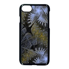 Fractal Wallpaper With Blue Flowers Apple iPhone 7 Seamless Case (Black)