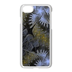 Fractal Wallpaper With Blue Flowers Apple iPhone 7 Seamless Case (White)