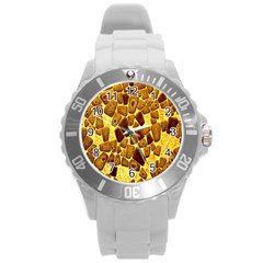 Yellow Cast Background Round Plastic Sport Watch (l) by Amaryn4rt