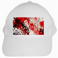 Red Fractal Art White Cap by Amaryn4rt