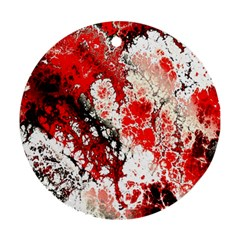 Red Fractal Art Ornament (round) by Amaryn4rt