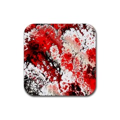 Red Fractal Art Rubber Square Coaster (4 Pack)  by Amaryn4rt