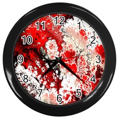 Red Fractal Art Wall Clocks (black) by Amaryn4rt