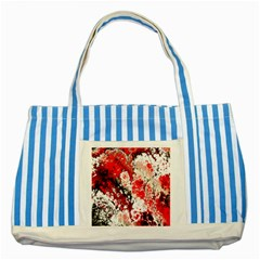 Red Fractal Art Striped Blue Tote Bag by Amaryn4rt