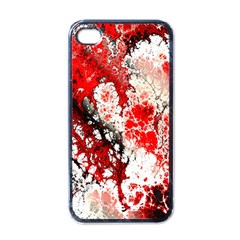Red Fractal Art Apple Iphone 4 Case (black) by Amaryn4rt