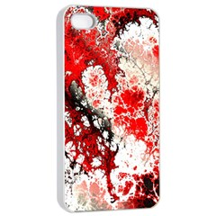 Red Fractal Art Apple Iphone 4/4s Seamless Case (white) by Amaryn4rt