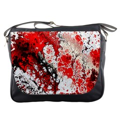 Red Fractal Art Messenger Bags by Amaryn4rt