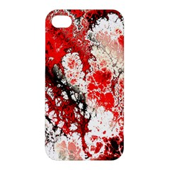 Red Fractal Art Apple Iphone 4/4s Premium Hardshell Case by Amaryn4rt