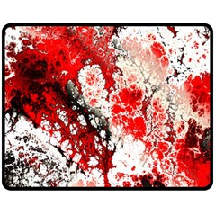 Red Fractal Art Double Sided Fleece Blanket (medium)  by Amaryn4rt