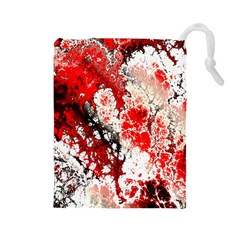 Red Fractal Art Drawstring Pouches (large)  by Amaryn4rt