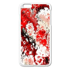 Red Fractal Art Apple Iphone 6 Plus/6s Plus Enamel White Case by Amaryn4rt