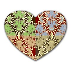 Multicolor Fractal Background Heart Mousepads by Amaryn4rt
