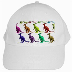 Multicolor Dinosaur Background White Cap by Amaryn4rt