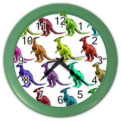 Multicolor Dinosaur Background Color Wall Clocks by Amaryn4rt