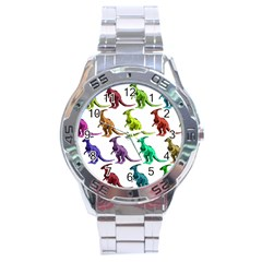 Multicolor Dinosaur Background Stainless Steel Analogue Watch