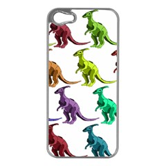 Multicolor Dinosaur Background Apple Iphone 5 Case (silver) by Amaryn4rt