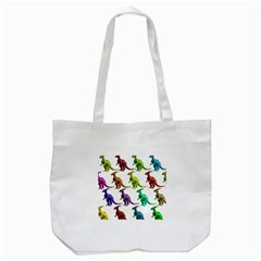 Multicolor Dinosaur Background Tote Bag (white) by Amaryn4rt