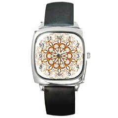 Golden Filigree Flake On White Square Metal Watch