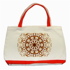 Golden Filigree Flake On White Classic Tote Bag (red) by Amaryn4rt