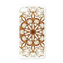 Golden Filigree Flake On White Apple Iphone 4 Case (white) by Amaryn4rt