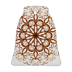 Golden Filigree Flake On White Bell Ornament (two Sides) by Amaryn4rt