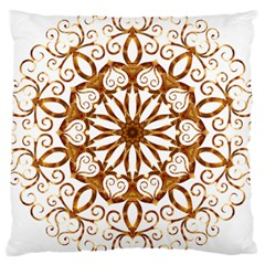 Golden Filigree Flake On White Large Cushion Case (two Sides) by Amaryn4rt