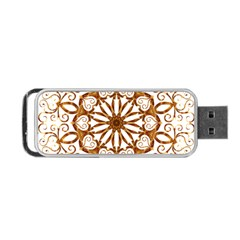 Golden Filigree Flake On White Portable Usb Flash (two Sides) by Amaryn4rt