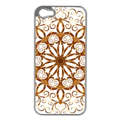 Golden Filigree Flake On White Apple Iphone 5 Case (silver) by Amaryn4rt