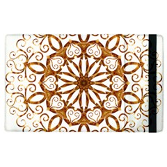 Golden Filigree Flake On White Apple Ipad 3/4 Flip Case by Amaryn4rt