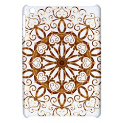 Golden Filigree Flake On White Apple Ipad Mini Hardshell Case by Amaryn4rt